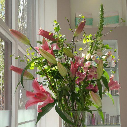 Corporate flower arrangement by Blue Lavender London florist