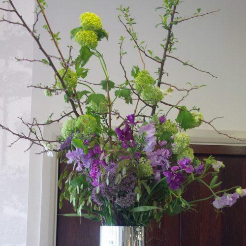 Purple flower display by Blue Lavender London florist
