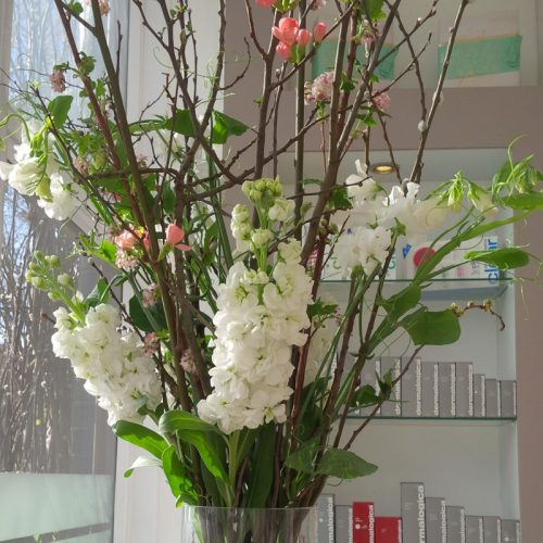 White flower display by Blue Lavender London florist