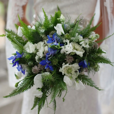 Blue and white wedding bouquet by Blue Lavender London florist