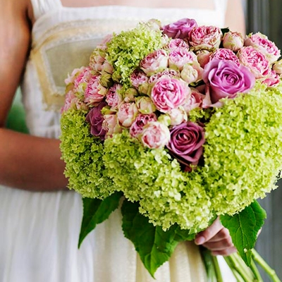 Pink and green wedding bouquet by Blue Lavender London florist