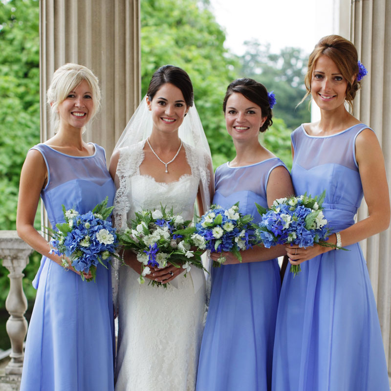 Bridal bouquet and bridesmaids' bouquets by Blue Lavender London florist