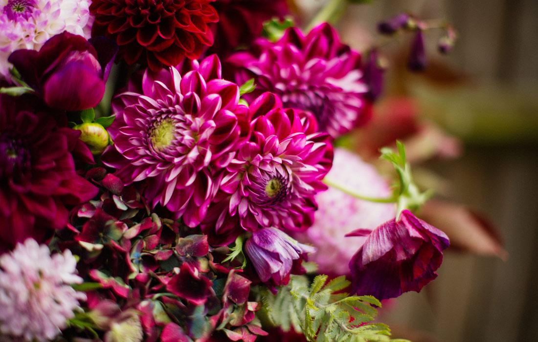 Fresh pink flowers by Blue Lavender London florist