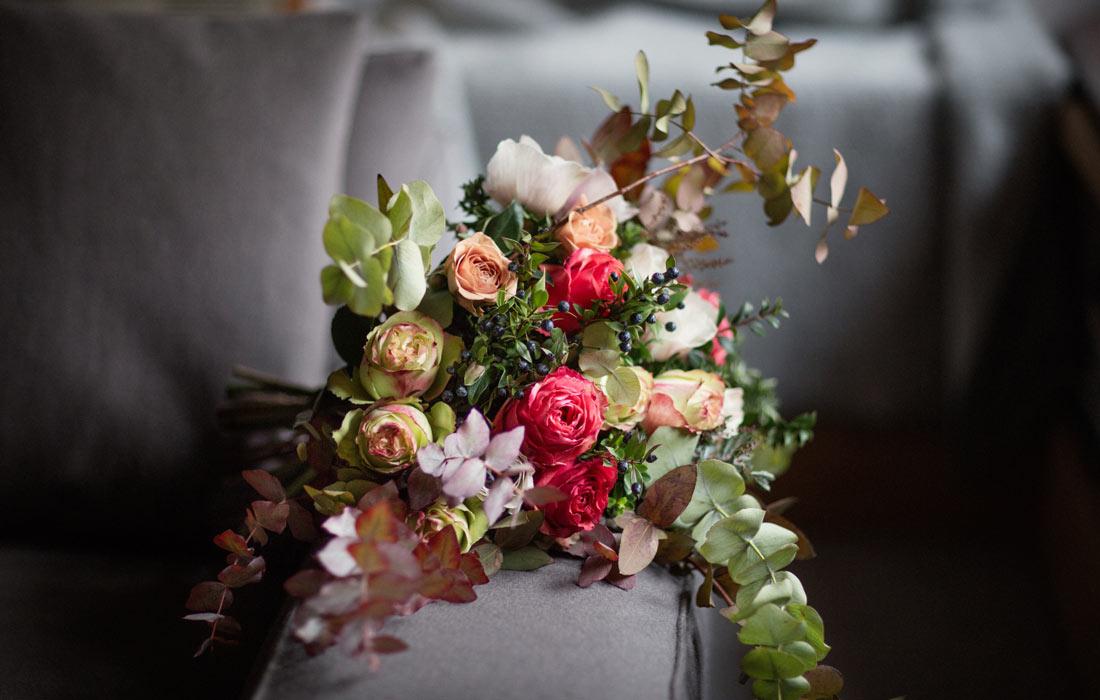 Christmas bouquet by Blue Lavender London florist