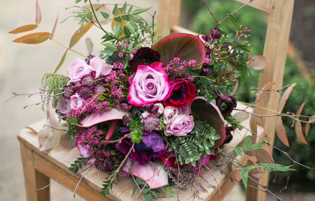 Pink Christmas bouquet by Blue Lavender London florist