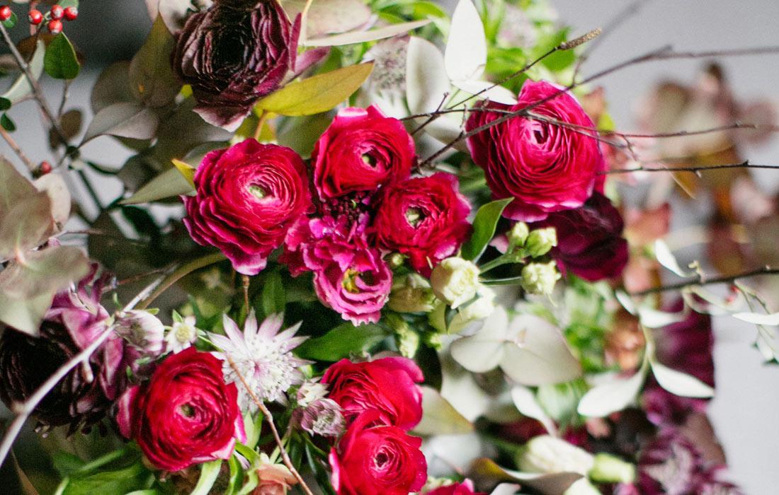 Bright Christmas bouquet by Blue Lavender London florist