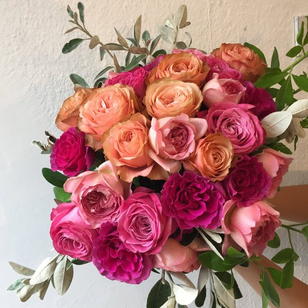 Garden roses bouquet by Blue Lavender Florists London