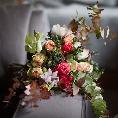 Les ancient roses flower bouquet by Blue Lavender Florist, London