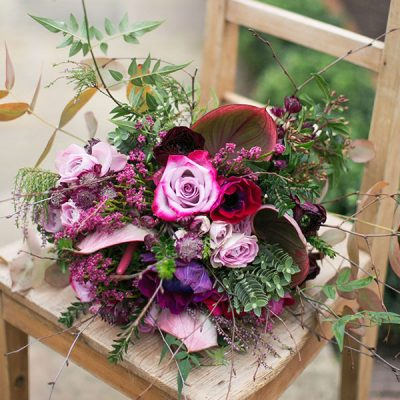 Roses in the meadow flower bouquet by Blue Lavender Florist, London