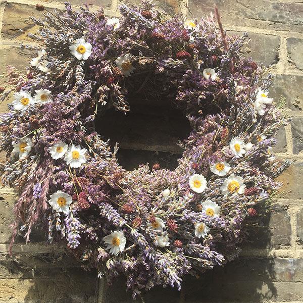 Wreath with lavender, sanguisorba, heather, daisy