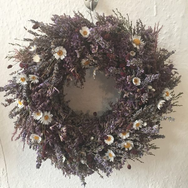Wreath with lavender, sanguisorba, heather and white daisy by Blue Lavender Florist London