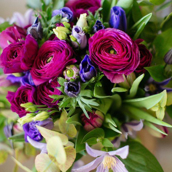 Charmant Clematite bouquet by Blue Lavender Florists London