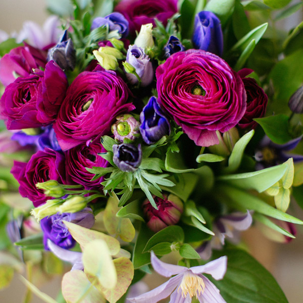 Charmant Clematite bouquet by Blue Lavender Florists London