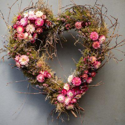 Heart wreath by Blue Lavender Florist London