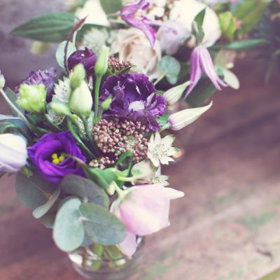Posies in glass vases by Blue Lavender Florist London
