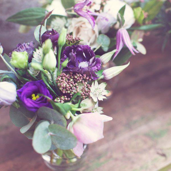 Posies in glass vases by Blue Lavender Florist London