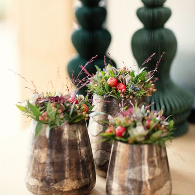 Set of 3 vases with red colour combination of flowers and berries