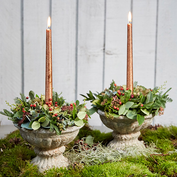 Table arrangement with copper candle